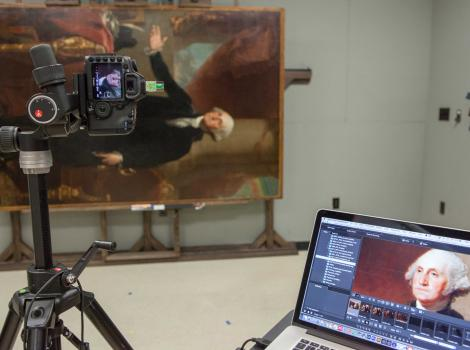 Image of the Lansdowne portrait being photographed in a studio