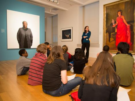 Students in the galleries