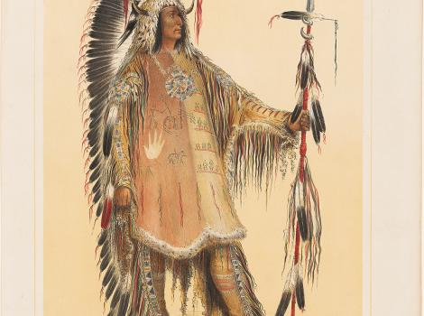 Drawing of a man in traditional garb