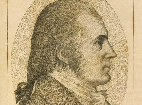 Print of a man wearing a suit in profile