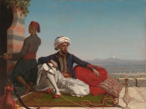 Painting of a man in reclining on pillows and smoking a hookah with the city of Damascus in the background