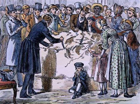 People in nineteenth century attire cutting into a large wheel of cheese