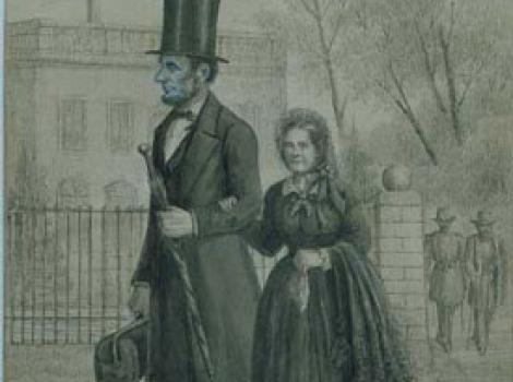 Drawing of Abraham and Mary Todd Lincoln holding hands, walking in street