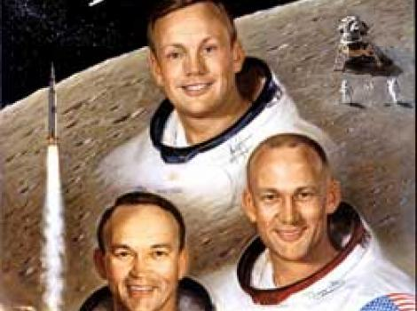 Painted Portrait of Apollo 11 Crew, in space suits (without helmets) and moon in background