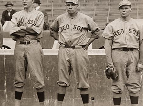 Babe Ruth in a Red Sox uniform