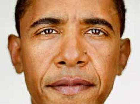Photographic portrait of Barack Obama, just face, staring straight into camera