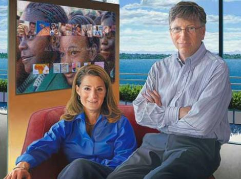 Painted portrait of Bill and Melinda Gates in their home, lake in background