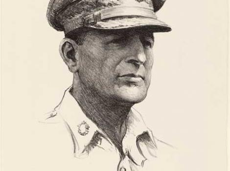 Lithograph on paper drawing of Douglas MacArthur