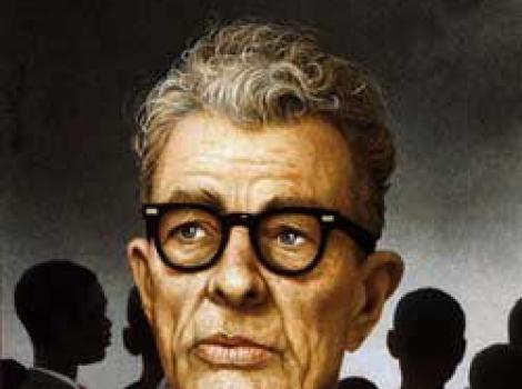 Painted portrait of Everett Dirksen, black horned-rimmed glasses, looking into distance