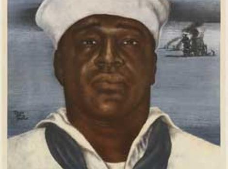"""African American in white navy uniform with words above saying """"Above and Beyond the Call of Duty"""""""