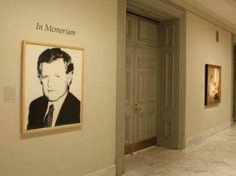 Portrait of Edward Kennedy on the museum walls