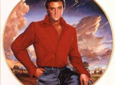 Painted portrait of Elvis Presley in red shirt with clouds behind him, in circular matter