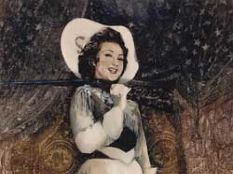 Painted portrait of Ethel Merman, rfile on shoulder