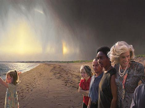 Painted portrait of Eunice Kennedy Shriver on a beach with five developmentally disabled children