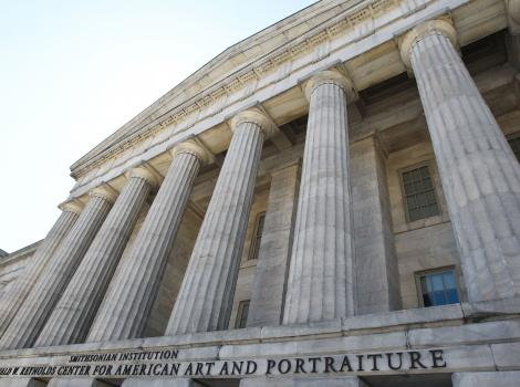 Columns at museum entrance