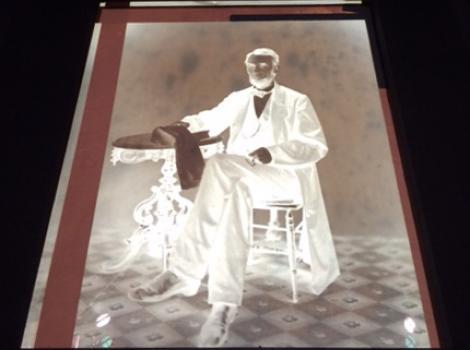 Back lit photo negative of Abraham Lincoln
