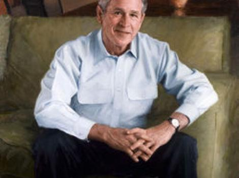 Painted portrait of George Bush, sitting on couch, wearing casual light blue shirt