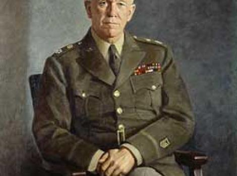 Painted portrait of George Marshall, seated and in uniform