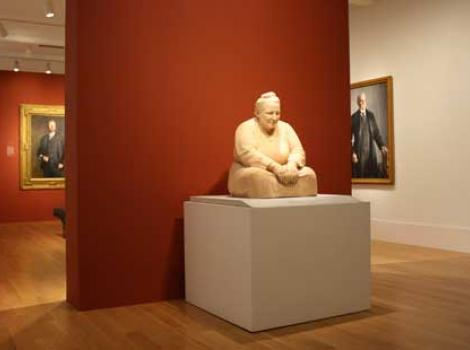 Gertrude Stein scultpure on display in the museum's galleries