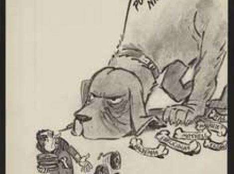 Political cartoon of bloodhound chasing Nixon while he drops tapes