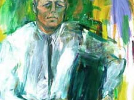 Painted portrait of John F. Kennedy, abstract and with greenish hues