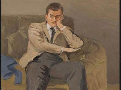 Painted portrait of John Ashbery in tan suit and slouching in chair