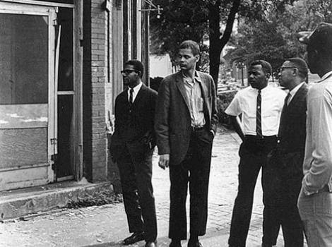 John Lewis and Julian Bond, with other African American activists, outside restuarant