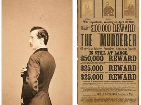 "Photograph portrait of John Wilks Booth and poster readeing ""$100,000 Dollar Reward"""