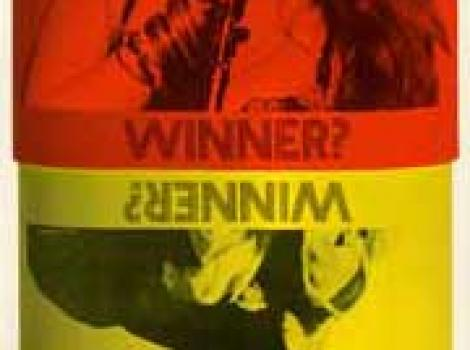 """Pill-shaped postet of Janis Joplin and Jimi Hendrix, with text saying """"Winner?"""""""