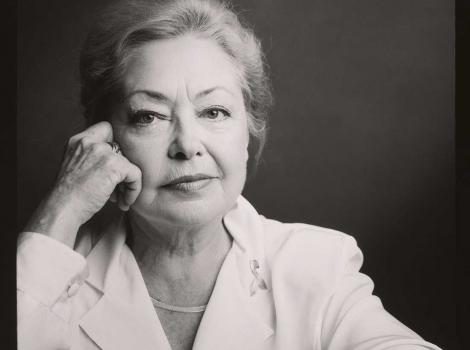 Black and white photo of Mathilde Krim