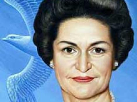 Portrait of Lady Bird Johnson, with a bird in blue background