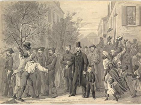 Drawing of Lincoln walking through Richmond with soldiers and slaves in the crowd
