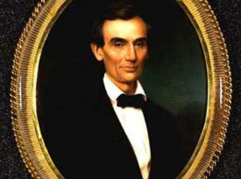 Painted portrait of Abraham Lincoln in circular gold frame
