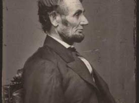 Photograph portrait of Lincoln, side profile of his face