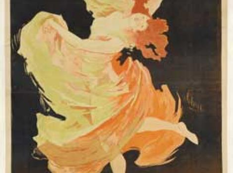 "Poster of Loie Fuller dancing in colorful swirling dress.  Poster reads ""Folies Bergere, La Loie Fuller"""