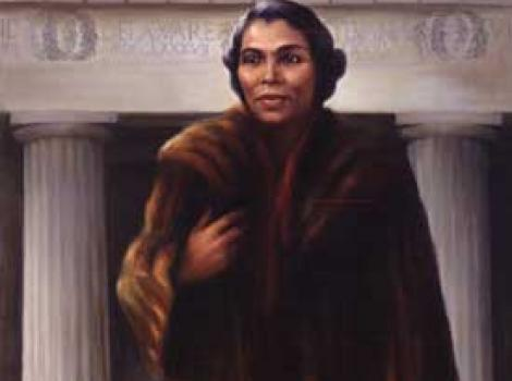 Painted portrait of Marian Anderson, in front of LIncoln Memorieal, wearing fur coat and holding a whit glove in her hand