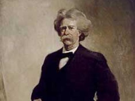 Painted portrait of Mark Twain, standing