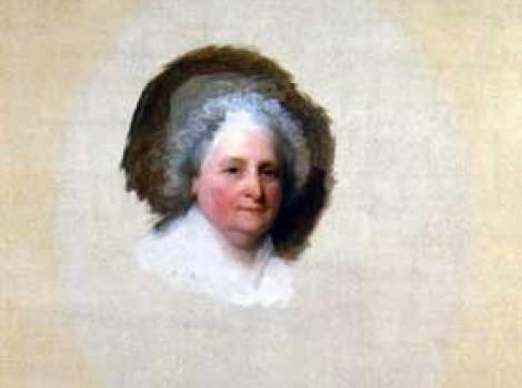 Painted portrait of Martha Washington, incomplete, just her face, the rest is blank canvas