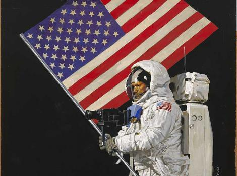 Painted portrait of Neil Armstrong carrying flag on the moon