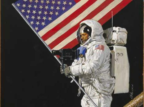 Painted portrait of Neil Armstrong in a spacesuit, walking on the moon carying American flag