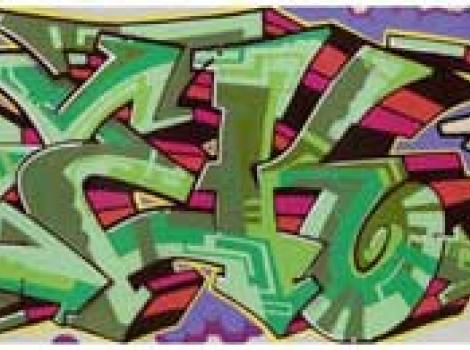 "Graffiti panel reading ""AREK"" in stylized letters"