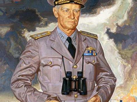 Painted portrait of Admiral Nimitz