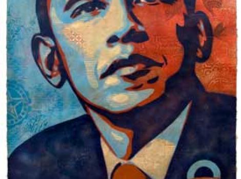 "Collage portrait of Barack Obama, with the word ""Hope"" in big letters at the bottom"