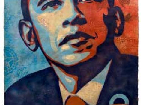 "Collage portrait of President Obama, with the word ""Hope"" on the bottom in big letters"