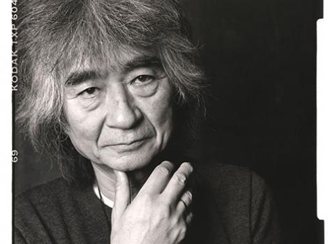 Black and white photo of Seiji Ozawa