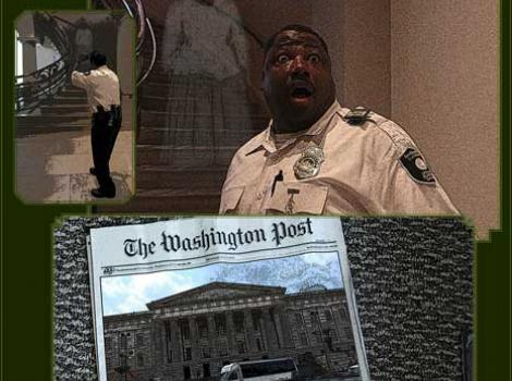 Photoshopped image of museum security guard with Washington Post newspaper and a ghost in the background