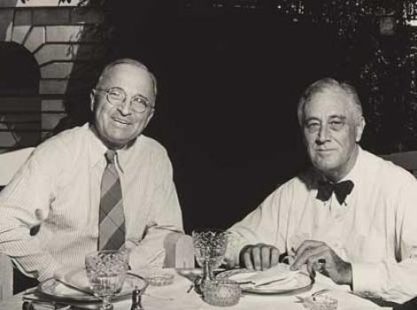 Photo of Harry S. Trumanlt with Franklin D. Roosevelt sitting at a table