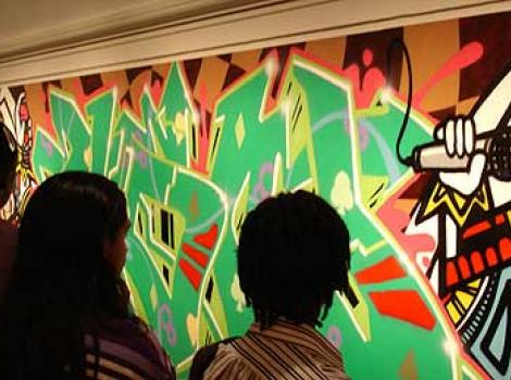 "Graffiti panel in ""RECOGNIZE!"" exhibition"