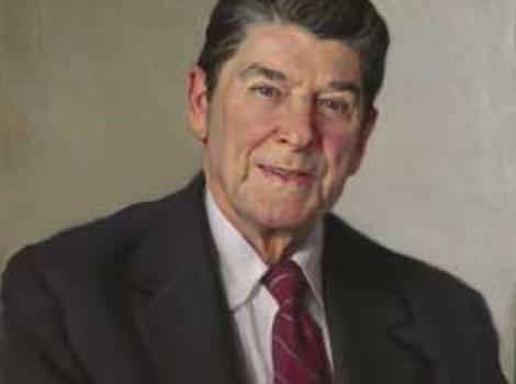 Painted portrait of Ronald Reagan