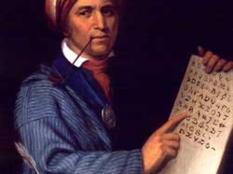 Painted portrait of sequoyah